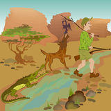 Cartoon hunter with bird, wolf and alligator. Stock Photos