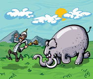 Cartoon of a hunter chased by an elephant. Mountains and sky in the back ground Stock Photos