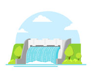 Cartoon Hydroelectric Station on a Landscape Background. Vector. Cartoon Hydroelectric Station River on a Landscape Background Alternative Eco Renewable Resource Royalty Free Stock Images
