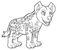 Cartoon hyena - coloring page Stock Photography