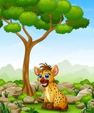 Cartoon hyena sitting in the jungle Royalty Free Stock Photography