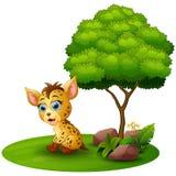 Cartoon hyena under a tree on a white background Royalty Free Stock Photo