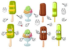 Cartoon ice cream bar, sundae and popsicles Royalty Free Stock Image
