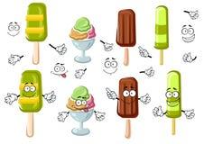 Cartoon ice cream bar, sundae and popsicles. Joyful ice cream cartoon characters with chocolate ice cream bar, colorful sundae dessert and green fruity popsicles Royalty Free Stock Image