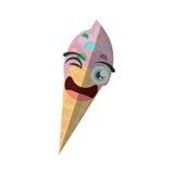 Cartoon ice cream birthday wink. Illustration eps 10 Stock Photography
