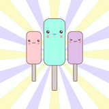 Cartoon ice cream characters. On striped background Royalty Free Stock Images