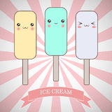 Cartoon ice cream characters. On striped background Royalty Free Stock Photography