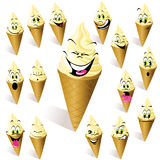 Cartoon ice cream cones. Illustrated set of cartoon ice cream cones with different faces, white background Stock Photography