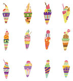 Cartoon ice cream icon Stock Images