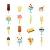 Cartoon Ice Cream Icon Set. Vector Royalty Free Stock Image