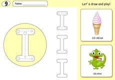 Cartoon ice cream and iguana. Alphabet tracing worksheet Royalty Free Stock Photo
