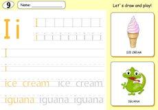 Cartoon ice cream and iguana. Alphabet tracing worksheet Stock Photo