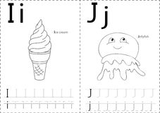 Cartoon ice cream and jellyfish. Alphabet tracing worksheet: wri Royalty Free Stock Images