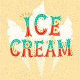 Cartoon ice cream poster on grungy background Stock Photos