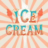 Cartoon ice cream poster on grungy background Royalty Free Stock Images