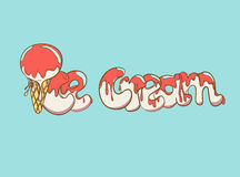Cartoon ice cream text Stock Image