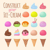 Cartoon ice cream and waffle cone cartoon creation constructor. Cone ice cream food chocolate and vanilla flavor. Vector illustration Royalty Free Stock Image