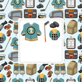 Cartoon ice hockey sport seamless pattern Royalty Free Stock Photography