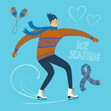 Cartoon ice skater  illustration. Vector illustration with cartoon ice skater with isolated objects: hearts; scarf; mittens Royalty Free Stock Photography