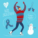 Cartoon ice skater  illustration Royalty Free Stock Image