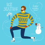 Cartoon ice skater  illustration Royalty Free Stock Photography