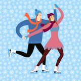 Cartoon ice skaters boy and girl Stock Photography