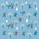 Cartoon ice skaters seamless pattern. Vector seamless background with lovely cartoon ice skaters on  ice rink with snowflake background, snowman and trees Stock Image