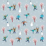 Cartoon ice skaters seamless pattern Stock Images