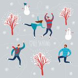 Cartoon ice skaters Royalty Free Stock Image