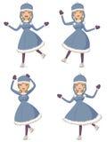 Cartoon ice skating girl. Cute cartoon figure skating girl in blue winter coat Royalty Free Stock Photo