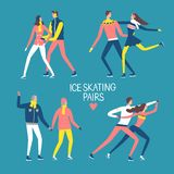 Cartoon ice skating pairs set. Young and old people. Winter illustration for your design Royalty Free Stock Photo