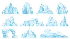Free Cartoon Iceberg. Drifting Arctic Glacier Or Ice Rock. Frozen Water, Antarctic Ice Peaks, Icy Mountain For Game, Nature Royalty Free Stock Images - 193610039