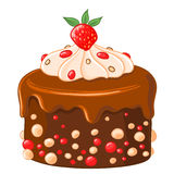 Cartoon icon chocolate-coffee cake with caramel syrup, strawberries and whipped cream. Royalty Free Stock Photo