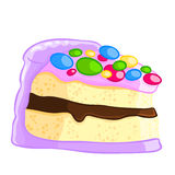 Cartoon icon of a piece of vanilla sponge cake with chocolate sauce and sprinkles. Royalty Free Stock Photo