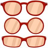 Cartoon icon poster woman red glasses, spectacles set. stock illustration