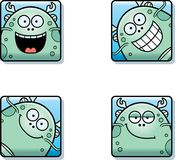 Happy Cartoon Sea Monster Icons. A cartoon icon set of a sea monster with happy expressions Royalty Free Stock Images