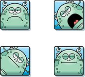 Calm Cartoon Sea Monster Icons. A cartoon icon set of a sea monster with sad and calm expressions Stock Image