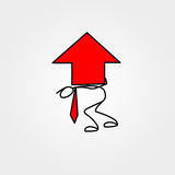 Cartoon icon of sketch business man stick figure with big red chart arrow. Cartoon icon of sketch stick figure vector business man with big red chart arrow Royalty Free Stock Photography