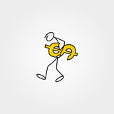 Cartoon icon of sketch business man stick figure with dollars Stock Images