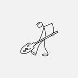 Cartoon icon of sketch business man stick figure with money. Cartoon icon of sketch stick figure vector business man with money Royalty Free Stock Image