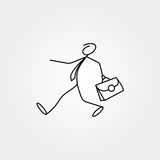 Cartoon icon of sketch business man stick figure with suitcase Stock Photography