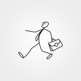 Cartoon icon of sketch business man stick figure with suitcase. Cartoon icon of sketch stick figure vector business man with suitcase Stock Photography