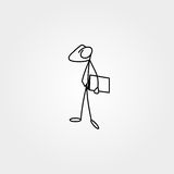 Cartoon icon of sketch business man stick figure with suitcase Stock Photo