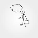 Cartoon icon of sketch business man stick figure with suitcase. Cartoon icon of sketch stick figure vector business man with suitcase Stock Photos