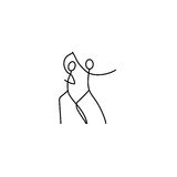 Cartoon icon of sketch little dancing people in cute miniature scenes. Stock Photo