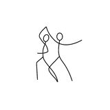Cartoon icon of sketch little dancing people in cute miniature scenes. Stock Image