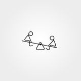 Cartoon icon of sketch little people in cute miniature scenes. Royalty Free Stock Photos