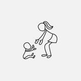 Cartoon icon of sketch little people in cute miniature scenes. Cartoon icon of sketch little vector people in cute miniature scenes Stock Photo