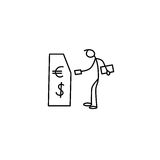 Cartoon icon of sketch little stick figure man withdrawing money from cash machine Stock Image