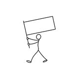 Cartoon icon of sketch stick business figure in cute miniature scenes. Stock Image